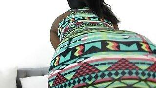 Busty ebony babe Camille Amore riding white rod Thumbnail