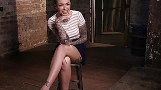 Tattooed crotch roped slave hard spanked