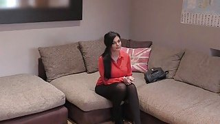 Busty in stockings cunt banged in office