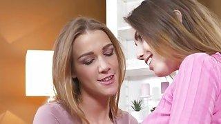 Two slim lesbians gfs tribbing in sofa Thumbnail
