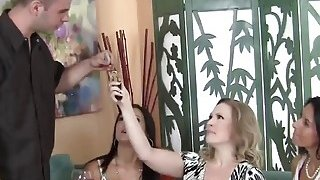 Horny cougars enjoy sharing big dick on couch Thumbnail