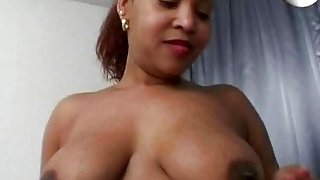 Chubby black chick playing with dildo in bedroom Thumbnail