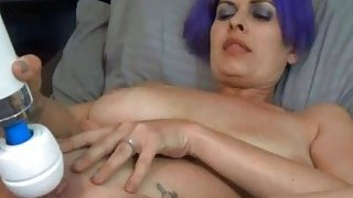 Blue Hair Amateur Masturbation With Giant Vibrater Thumbnail