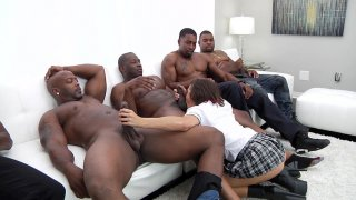 Keisha Grey in blow bang action with four black dudes