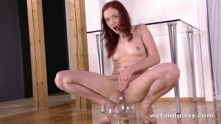 Pussy Pissing  Redhead Marketa tastes her piss in solo watersports video Thumbnail