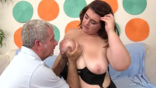 Young Chubby Slut Maxi Pleasures Blows and Rides a Horny Older Man