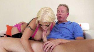 Blonde Barbie Sins orally serves Mark Wood Thumbnail