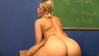 Fabulous blonde babe Alexis Texas rides cock on the teacher's table Thumbnail