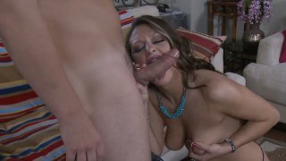 Brazen hussy Carmen McCarthy give a hot blowjob and and gets pinnes roughly Thumbnail