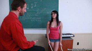 Sexy brunette teen Megan Piper blows teacher's dick on her knees Thumbnail