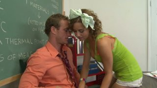 Curly haired teen Mae Meyers has crush on her teacher Thumbnail
