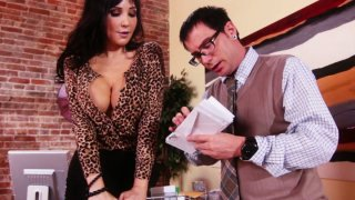 Slutty brunette MILF Diana Prince blows nerd's small cock Thumbnail