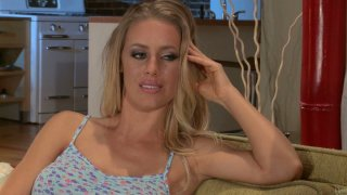 Lustful blonde Nicole Aniston has got eortic suprise for her man Thumbnail
