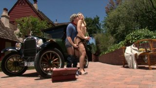 Thick blonde chick Alexis Texas in retro style quckie Thumbnail