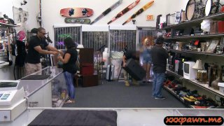 Babe sells her BFs subwoofer speaker then fucked by pawn guy Thumbnail