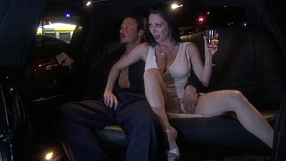 FFM threesome in a limo Thumbnail