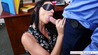 Masturbating Boss Gives a Blindfolded Blowjob to a Big Dick Thumbnail