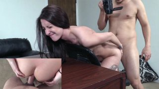 Skinny Tattooed Chick's Anal Ride on Couch Thumbnail